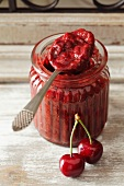 Cherry jam with chocolate