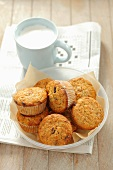 Cranberry muffins and a cup of milk