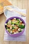 Chicken and broccoli salad with blue cheese and sunflower seeds