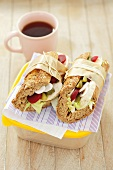 Chicken, beetroot and cucumber sandwiches to take away
