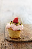 Cupcake with raspberry frosting