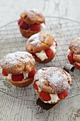 Filled strawberry muffins