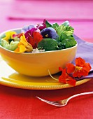 Edible flowers in a bowl