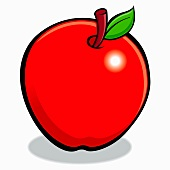 A red apple with a leaf and a stem (illustration)