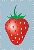 A strawberry on a light-blue background (illustration)