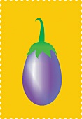 An aubergine against a yellow background (illustration)