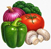 An arrangement of vegetables: a pepper, tomato, onion, broccoli and mushrooms (illustration)