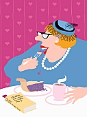 A lady eating cake and drinking coffee with a book on the table (illustration)