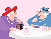 Two old ladies sitting at a table with coffee and cake (illustration)