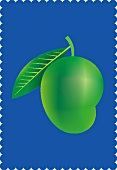 A mango with a leaf on a blue background (illustration)