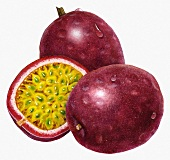Two whole passion fruits and a halved passion fruit (illustration)