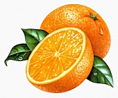 A whole orange and half an orange with leaves (illustration)