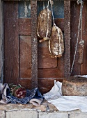 Italian salami and cheese in a rustic environment