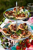 Mini chanterelle mushroom and onion pizzas (Sweden)