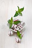 Peppermint bonbons and fresh mint