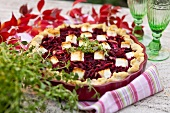 Beetroot pie with sheep's cheese