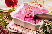 Beetroot ice cream with pistachios