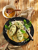 Rocket and cheese dumplings with brown butter