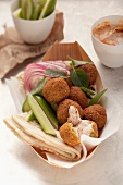 Falafel with harissa yoghurt and unleavened bread
