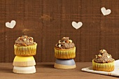 Cupcakes with sweet bean cream and caramelised nuts