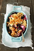 Blueberry crumble with slivered almonds