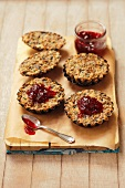 Buckwheat tartlets with mushrooms and cranberry sauce