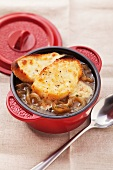 French onion soup with cheese croûtes