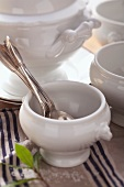 Soup tureens and soup bowls with spoons