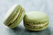 Two pistachio macaroons