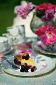 A slice of cheesecake with blackcurrants on a table in the garden