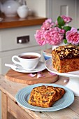 Beetroot cake with walnuts at teatime