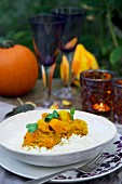 Squash curry with rice