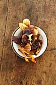 Home-made potato and carrot crisps
