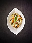 Mushroom risotto with chanterelles, porcini mushrooms and sage