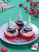 Cupcakes decorated with Christmas trees