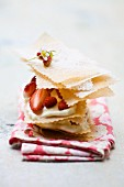 Mille feuille with strawberries and custard
