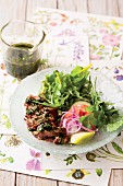 Salad with beef fillet and a herb dressing