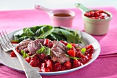 Pork fillet with strawberry sauce