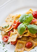 Ravioli al pomodoro pachino e basilico (ravioli with cherry tomatoes)