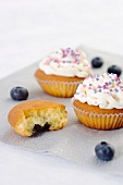 Blueberry cupcakes with icing and colourful sugar sprinkles