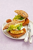 Vegetable burger with mozzarella