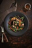Rocket salad with roasted vegetables