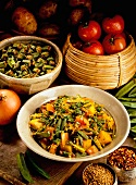 Aloo bhindi (potato and okra curry, India)