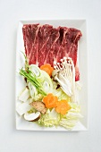 Wagyu beef with vegetables, ingredients for shabu shabu