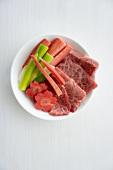 Thinly sliced raw Wagyu beef