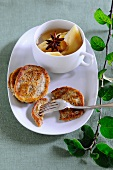 Blinis with stewed quinces
