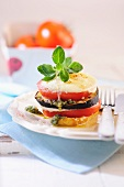 Stacked tomato and aubergine gratin