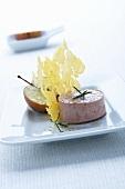 Polenta crisps with foie gras and a caramelised apple