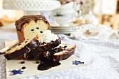 Chocolate chip loaf cake with chocolate glaze