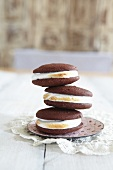 Three stacked whoopie pies